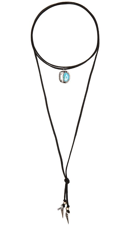 Natalie B Jewelry Roadie Wrap Necklace in Black, Silver Hardwar, & Turquoise Two Feather