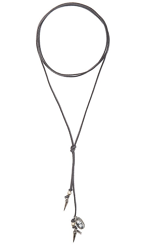 Natalie B Jewelry Roadie Wrap Necklace in Grey, Silver Hardware & White Marble