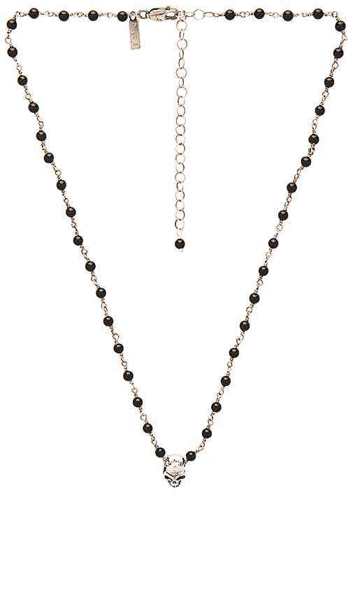 Natalie B Jewelry Back To Back Skull Charm Necklace in Black & Silver