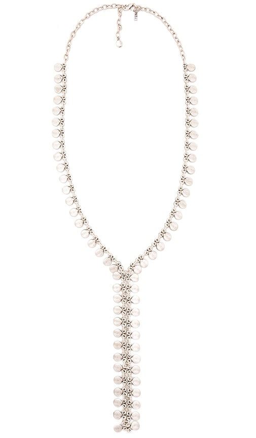 Natalie B Jewelry Seadrop Lariat Necklace in Metallic Silver