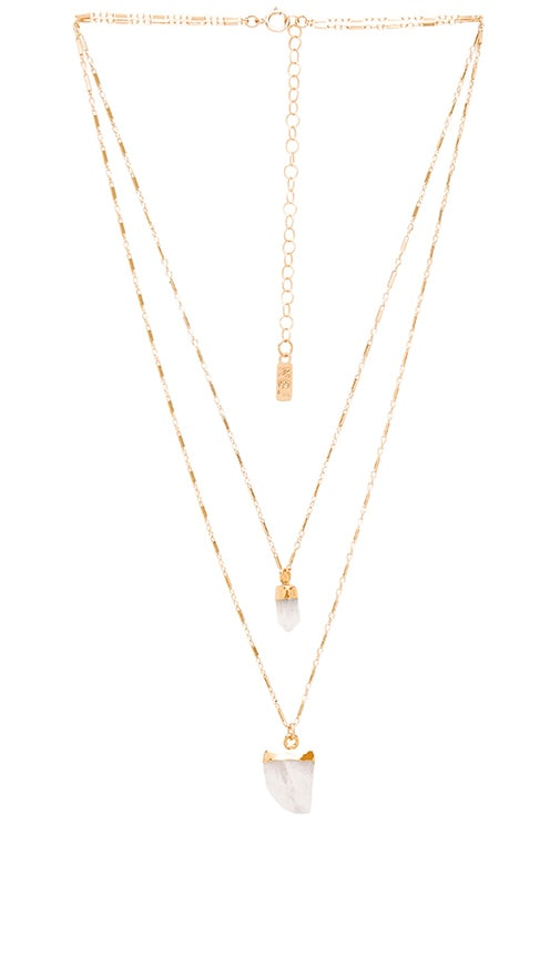 Natalie B Jewelry Moonstone Pendant Double Layer Necklace in Metallic Gold