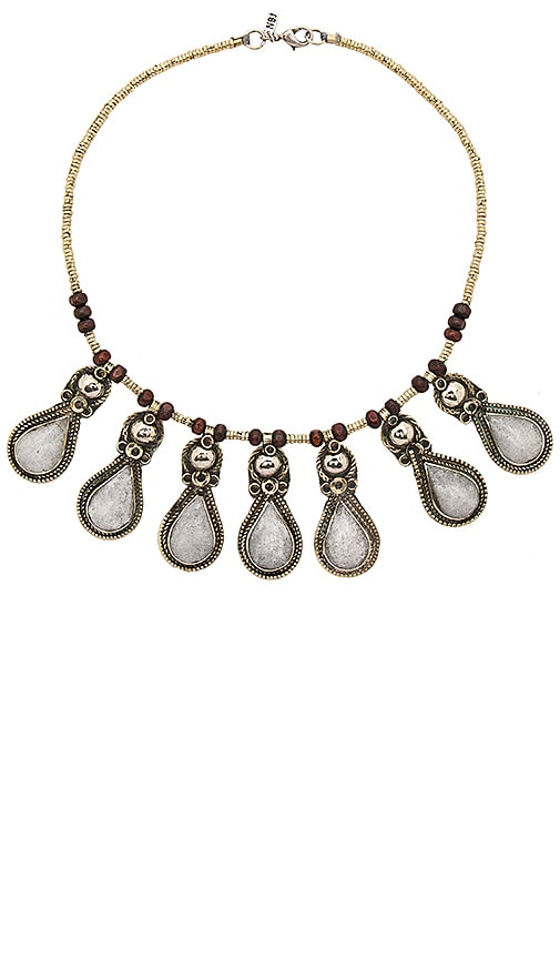 Natalie B Jewelry Drops Of Ice Necklace in Silver & Serpentine Jade