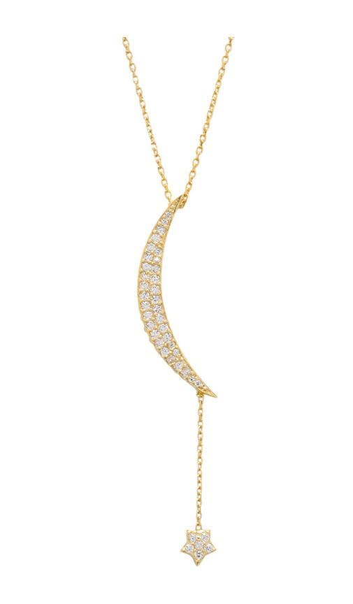 Natalie B Ottoman Large Moon & Star Necklace in Metallic Gold