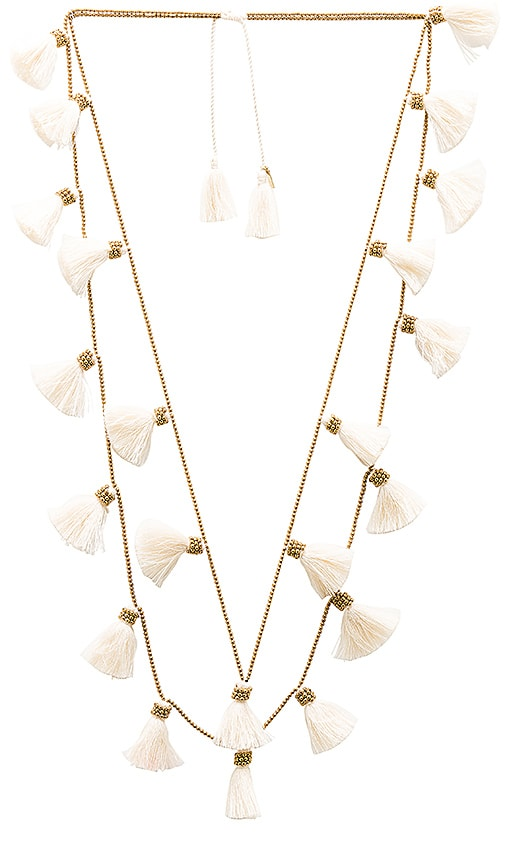 Natalie B Jewelry Dara Tassel Necklace in Metallic Gold