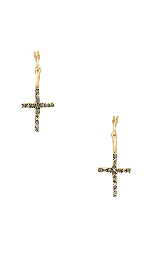 Natalie B Jewelry Devoted Unfinished Diamond Cross Hoops in Gold