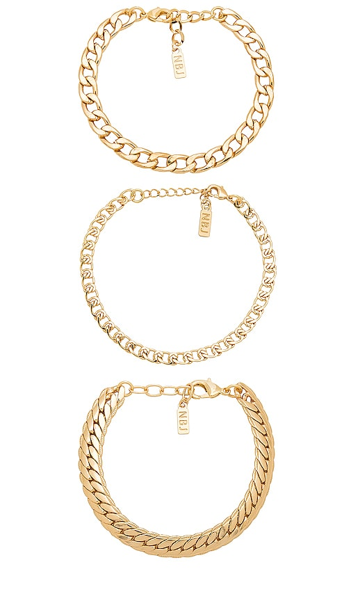 Natalie B Jewelry Tre Catena Bracelet in Metallic Gold