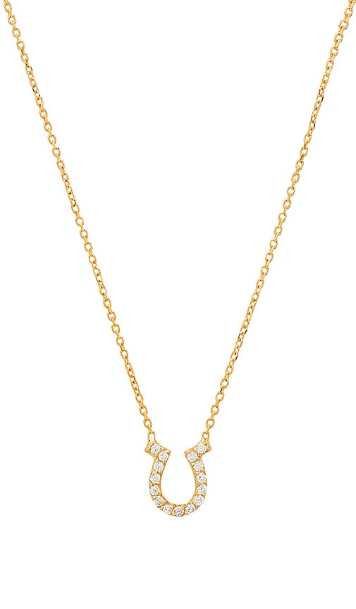 Natalie B Jewelry Horseshoe Charm Necklace in Gold