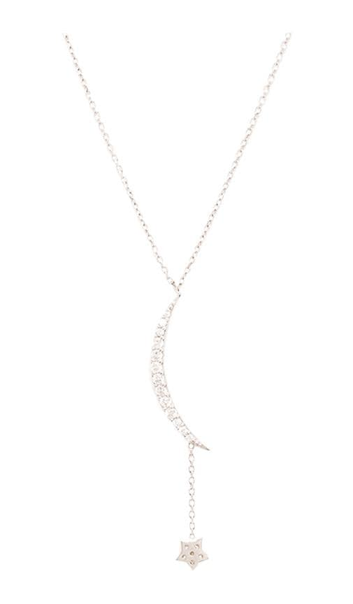 Natalie B Jewelry Ottoman Small Moon & Star Necklace in Metallic Silver