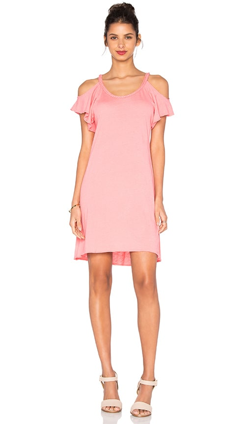 Nation LTD Cassandra Cold Shoulder Dress in Coral