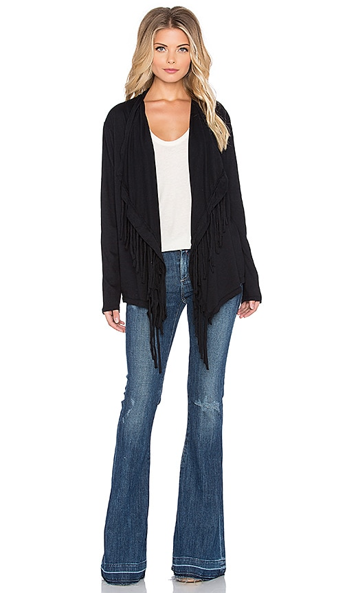 Nation LTD Molly Fringe Cardigan in Black
