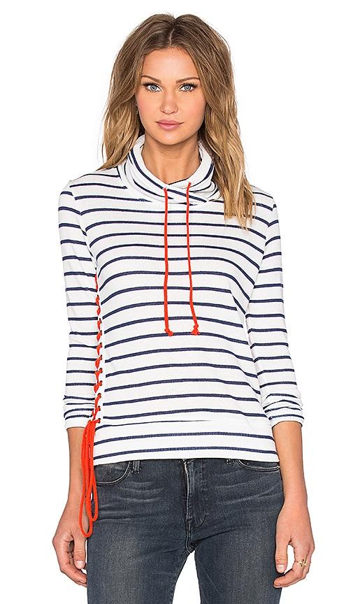 Nation LTD Alexis Lace Up Sweatshirt in White & Blue Stripe