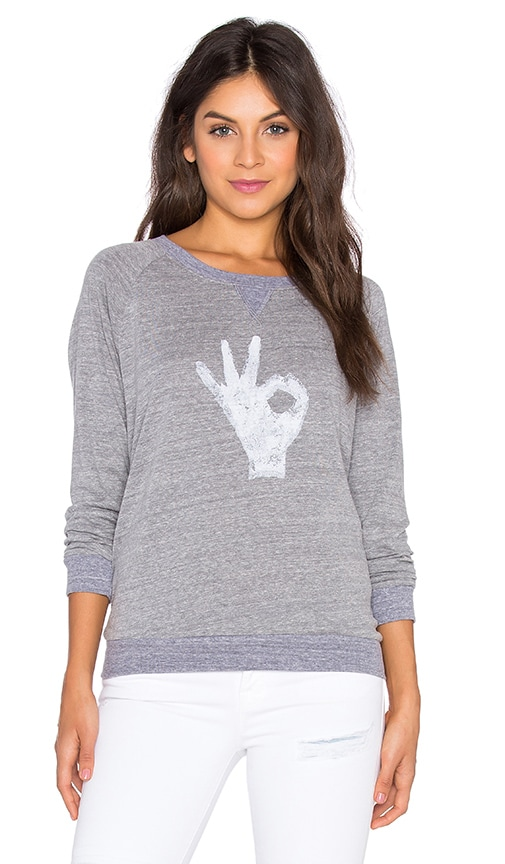 Nation LTD OK Raglan Sweatshirt in Gray