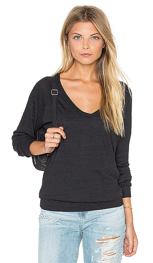 Nation LTD V Neck Raglan Sweatshirt in Black