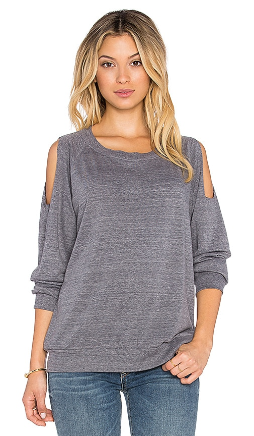 Nation LTD Taylor Cold Shoulder Top in Heather Grey