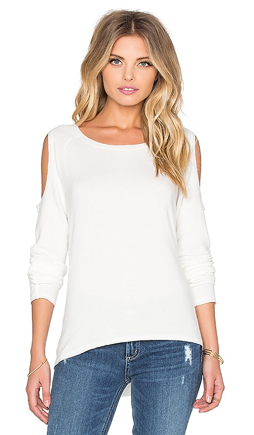 Nation LTD Hacci Cold Shoulder Top in Cream