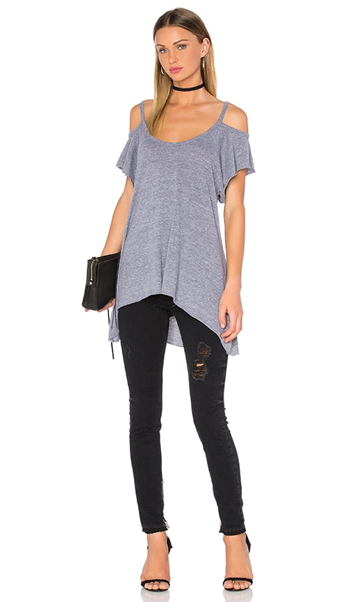Nation LTD Bea Cold Shoulder Tee in Heather Grey