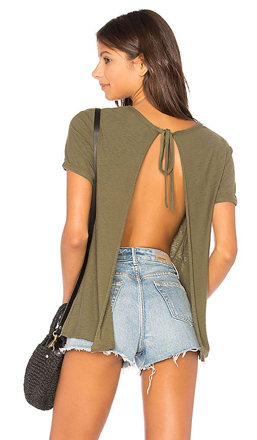 Nation LTD Winona Sliced Tie Back Tee in Green