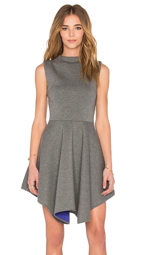 NATIVE STRANGER Neoprene Handkerchief Dress in Gray