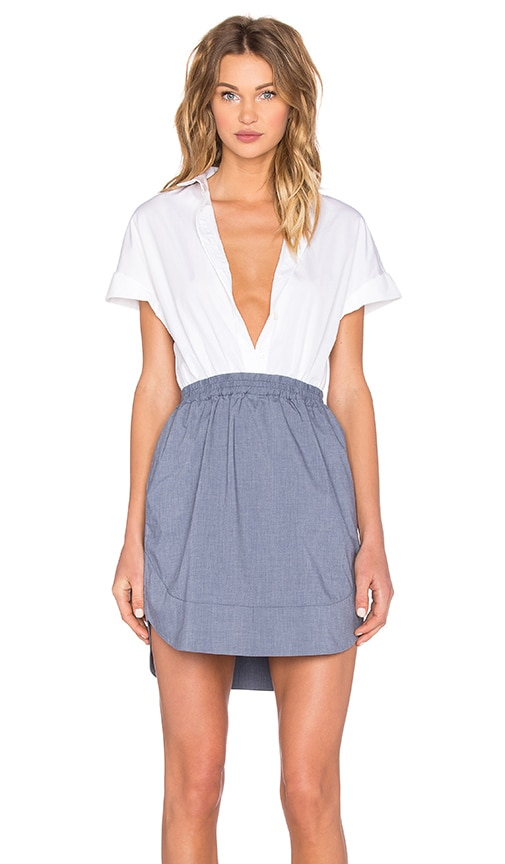 NATIVE STRANGER Cotton & Chambray Shirt Dress in White