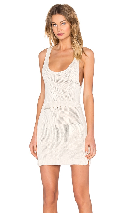 NATIVE STRANGER Paneled Sleeveless Knit Dress in Ivory