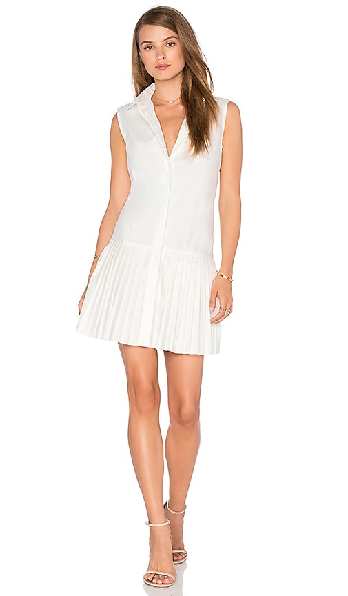 NATIVE STRANGER Pleated Shirt Dress in White