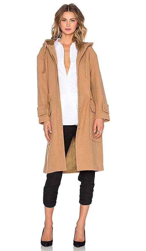 NATIVE STRANGER Oversized Hooded Parka Jacket in Camel