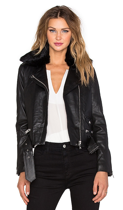 NATIVE STRANGER Belted Leather Biker Jacket with Dyed Rabbit Fur Collar in Black