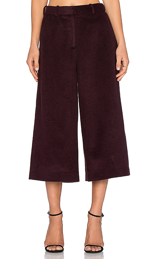 NATIVE STRANGER Wool Cashmere Wide Leg Pants in Burgundy
