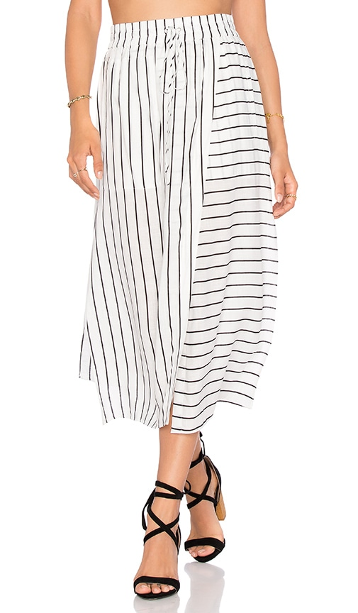 NATIVE STRANGER Elastic Waist Wrapped Skirt in White Stripes
