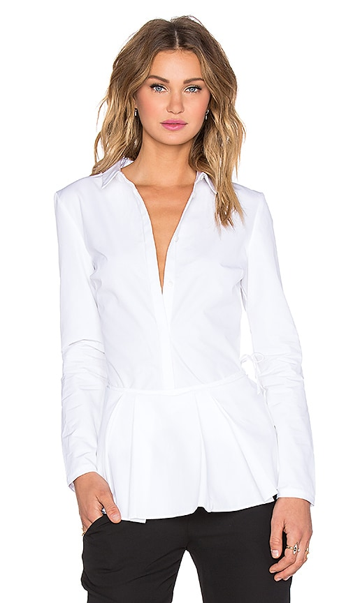 NATIVE STRANGER Wrap Button Up Top in White