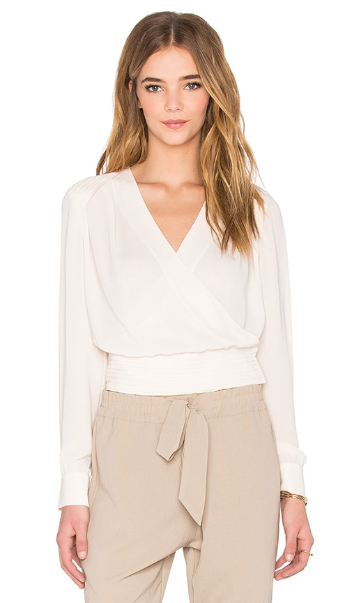 NATIVE STRANGER Pleated Wrapped Front Blouse in Beige