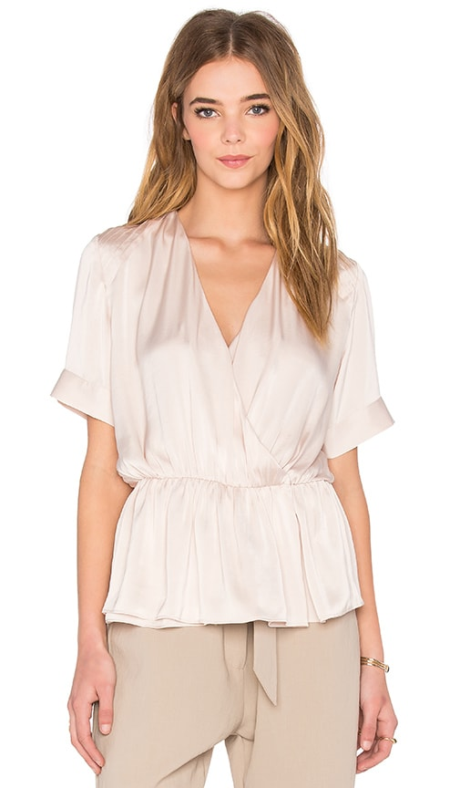 NATIVE STRANGER Pleated Wrapped Blouse in Pink