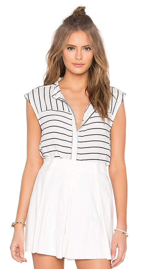 NATIVE STRANGER Sleeveless Stripe Shirt in White