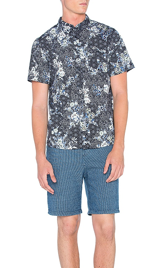 Native Youth Floral Sashiko Shirt in Navy