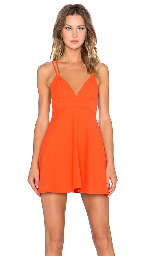 NBD x Naven Twins Sunshine Fit & Flare Dress in Red Orange