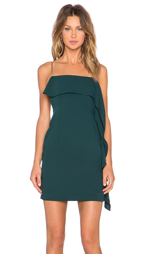 NBD Go With The Flow Mini Dress in Dark Green