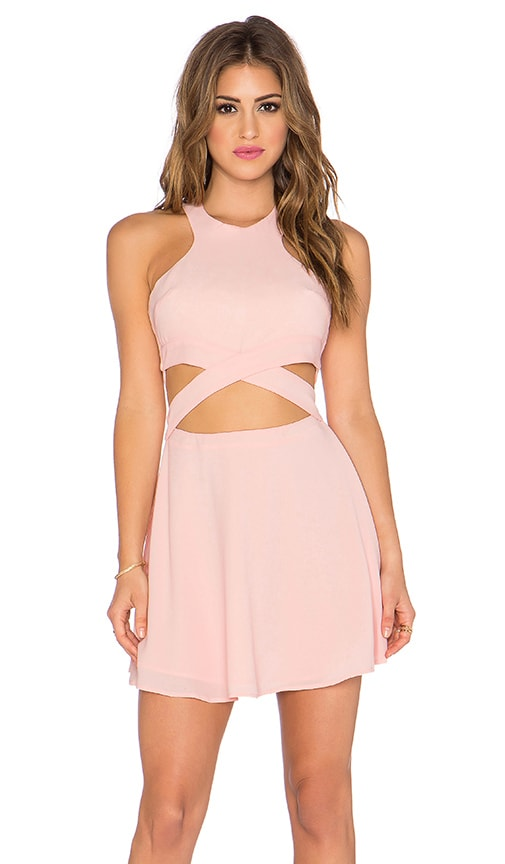 NBD x Naven Twins Chromat Fit & Flare Dress in Pink