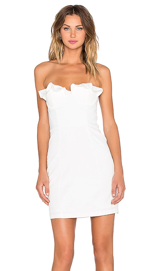 NBD xREVOLVE Unintentional Strapless Dress in Ivory