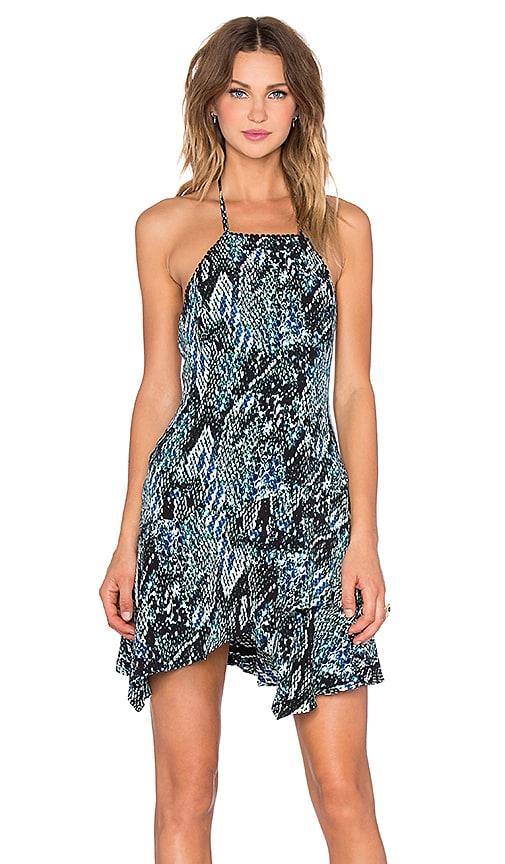 NBD No Fuss Halter Mini Dress in Blue & Green