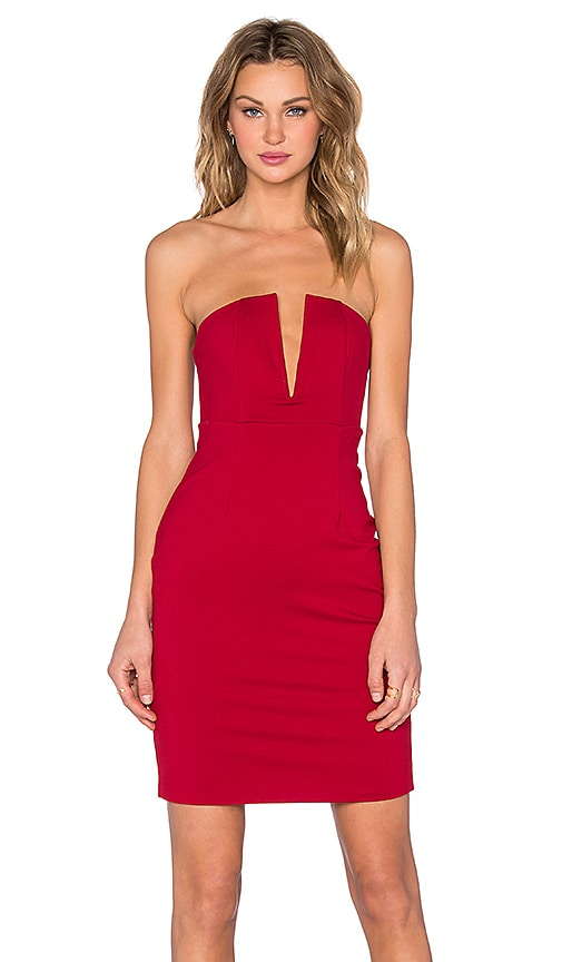 NBD x REVOLVE Champagne Strapless Dress in Maroon