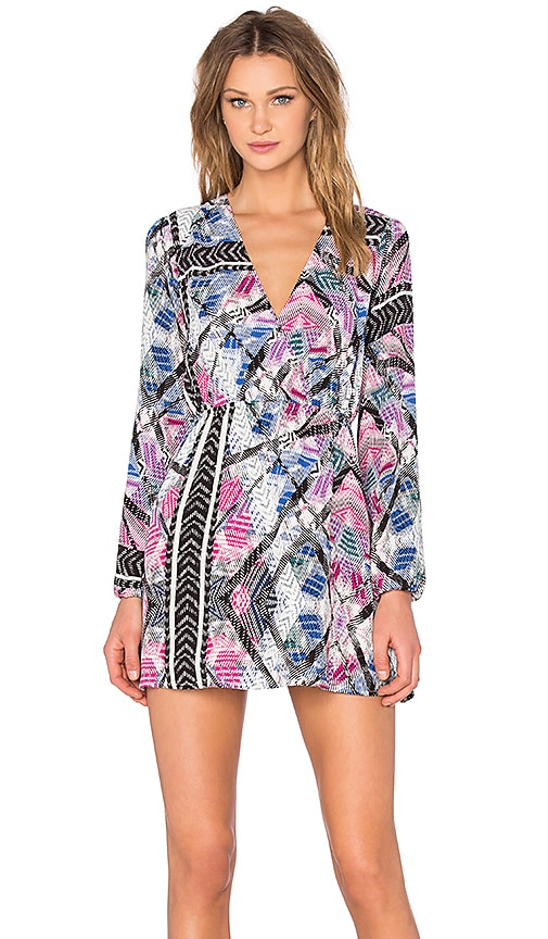 NBD x Naven Twins Deep V Mayhem Dress in Tribal Print
