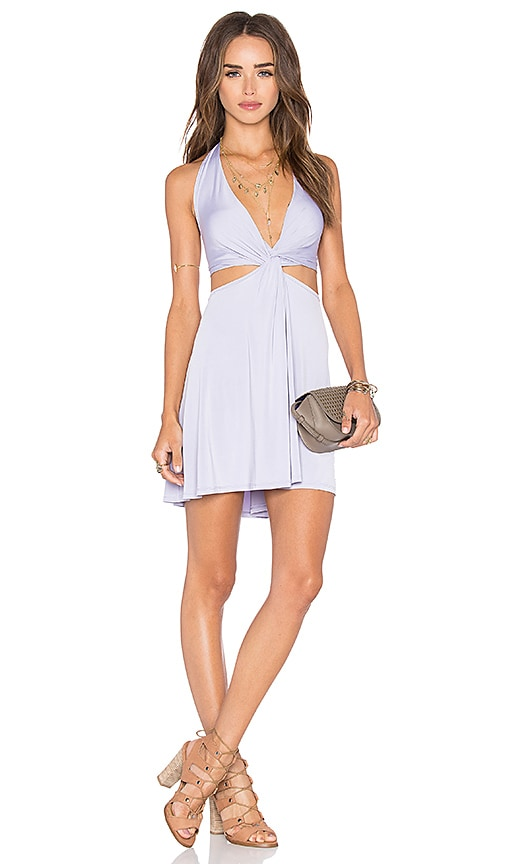 NBD x Naven Twins Vava Twisting V Neck Dress in Lavender