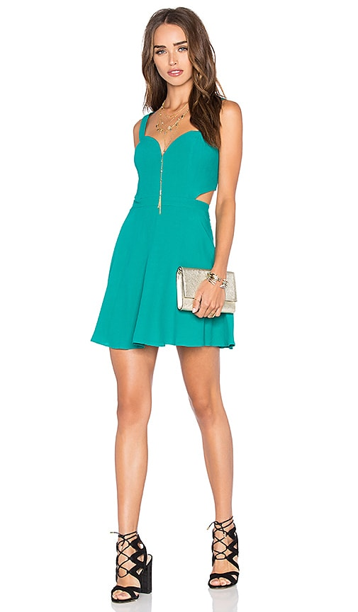 NBD x Naven Twins Swinging Sweetheart Fit & Flare Dress in Teal Green