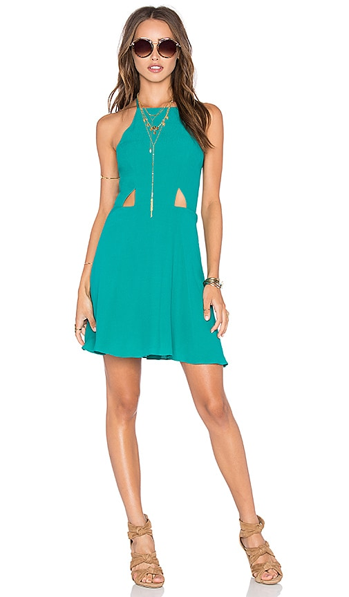 NBD x Naven Twins Sahara High Neck Halter Dress in Teal