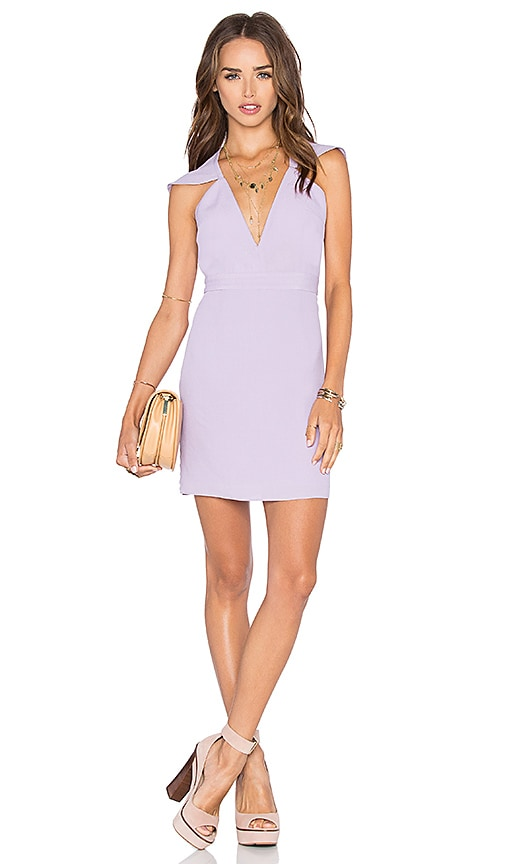 NBD x Naven Twins Flutter Sleeve Romance Bodycon Dress in Purple