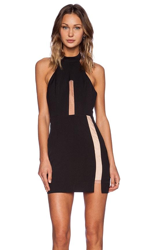 NBD Illusion Mock Collar Dress in Black