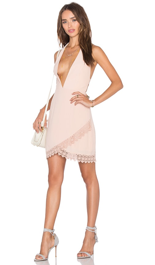 NBD x Naven Twins Lover Of Mine Plunging Mini Dress in Blush
