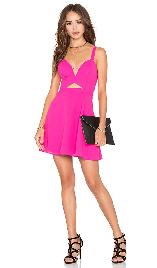 NBD x Naven Twins Alright Sweetheart Fit & Flare Dress in Rose Pink