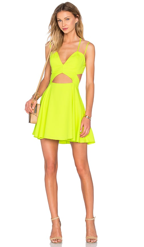 NBD x Naven Twins Tell Me More Fit & Flare Dress in Lemon