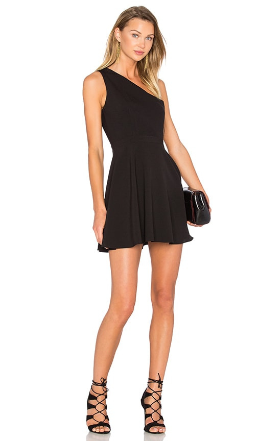 NBD X Naven Twins Zip Me Up One Shoulder Dress in Black